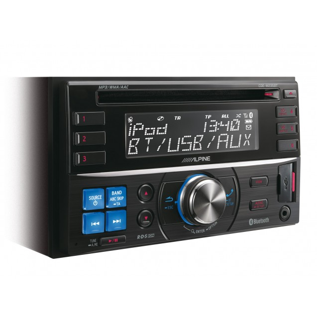 Alpine 2-DIN CD Receiver with Large Display CDE-W235EMBT