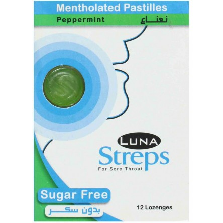 Luna Streps Mentholated Pastilles without sugar  - (a box of 12 strips and a strip of 12 pcs)